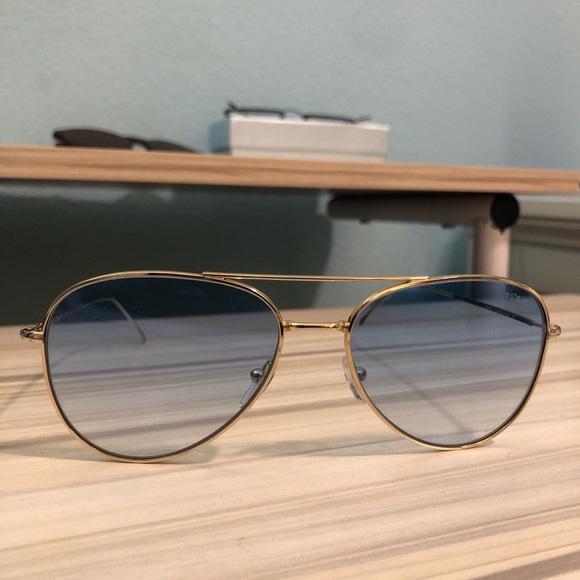 Blue Frame Aviator Sunglasses